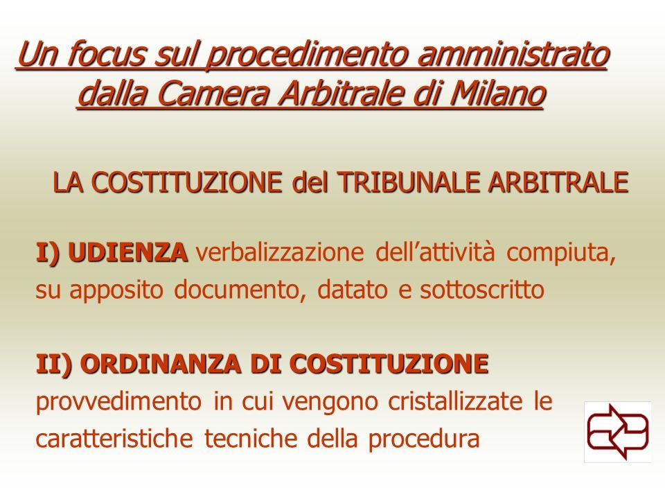 Un focus sul procedimento amministrato dalla Camera Arbitrale di Milano LA COSTITUZIONEdel TRIBUNALE ARBITRALE LA COSTITUZIONE del TRIBUNALE ARBITRALE I) UDIENZA I) UDIENZA verbalizzazione dellattività compiuta, su apposito documento, datato e sottoscritto II) ORDINANZA DI COSTITUZIONE provvedimento in cui vengono cristallizzate le caratteristiche tecniche della procedura