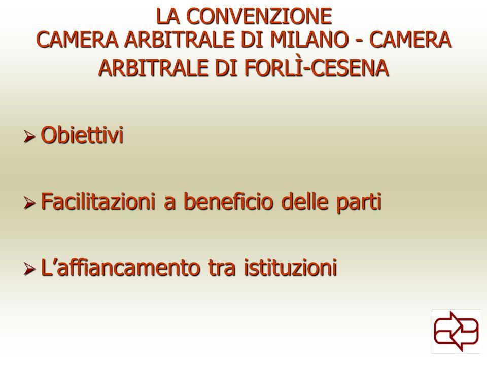 LA CONVENZIONE CAMERA ARBITRALE DI MILANO - CAMERA ARBITRALE DI FORLÌ-CESENA Obiettivi Obiettivi Facilitazioni a beneficio delle parti Facilitazioni a