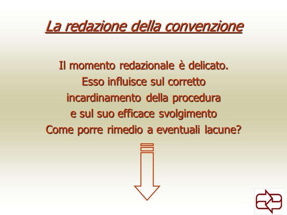 La redazione della convenzione Il momento redazionale è delicato. Esso influisce sul corretto incardinamento della procedura e sul suo efficace svolgi