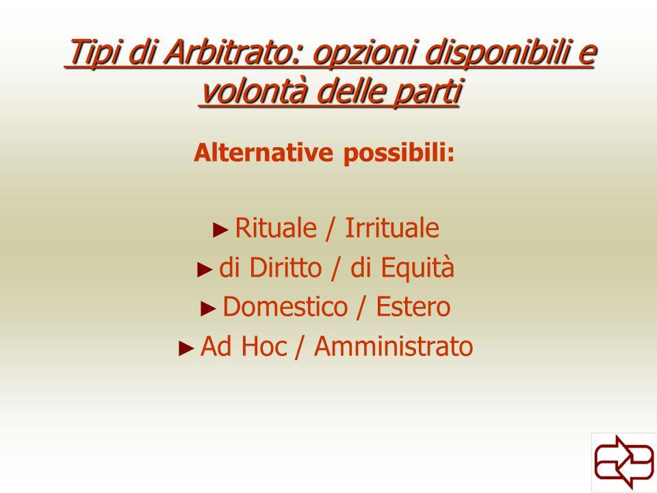 Tipi di Arbitrato: opzioni disponibili e volontà delle parti Alternative possibili: Rituale / Irrituale di Diritto / di Equità Domestico / Estero Ad Hoc / Amministrato