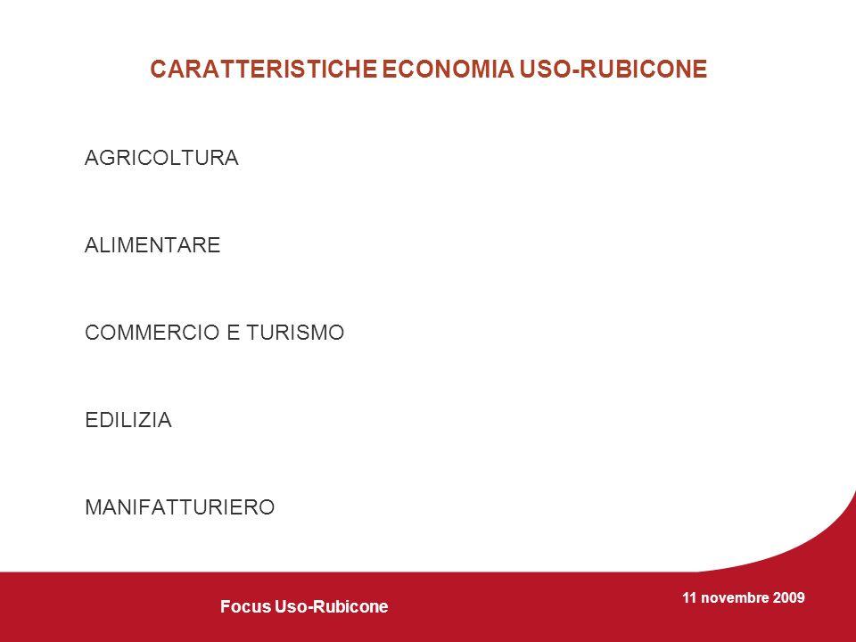 11 novembre 2009 CARATTERISTICHE ECONOMIA USO-RUBICONE AGRICOLTURA ALIMENTARE COMMERCIO E TURISMO EDILIZIA MANIFATTURIERO Focus Uso-Rubicone