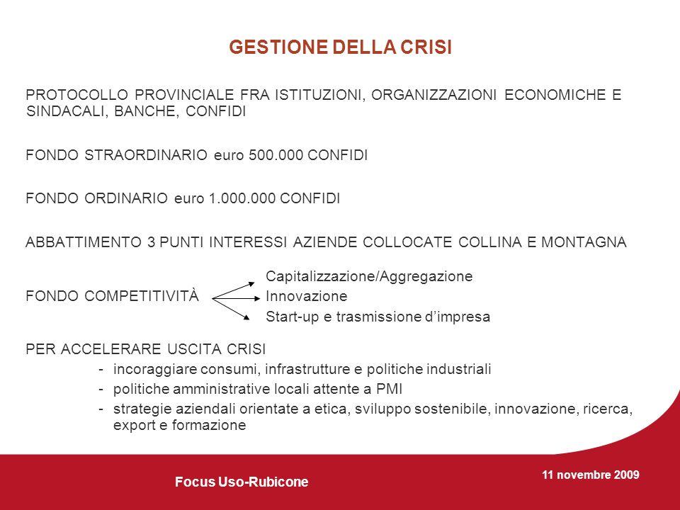 11 novembre 2009 GESTIONE DELLA CRISI PROTOCOLLO PROVINCIALE FRA ISTITUZIONI, ORGANIZZAZIONI ECONOMICHE E SINDACALI, BANCHE, CONFIDI FONDO STRAORDINARIO euro 500.000 CONFIDI FONDO ORDINARIO euro 1.000.000 CONFIDI ABBATTIMENTO 3 PUNTI INTERESSI AZIENDE COLLOCATE COLLINA E MONTAGNA Capitalizzazione/Aggregazione FONDO COMPETITIVITÀInnovazione Start-up e trasmissione dimpresa PER ACCELERARE USCITA CRISI -incoraggiare consumi, infrastrutture e politiche industriali -politiche amministrative locali attente a PMI -strategie aziendali orientate a etica, sviluppo sostenibile, innovazione, ricerca, export e formazione Focus Uso-Rubicone