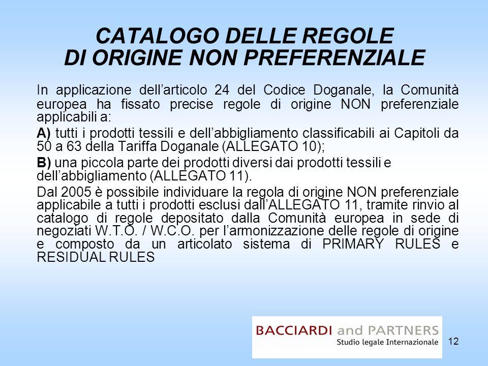 12 CATALOGO DELLE REGOLE DI ORIGINE NON PREFERENZIALE In applicazione dellarticolo 24 del Codice Doganale, la Comunità europea ha fissato precise rego