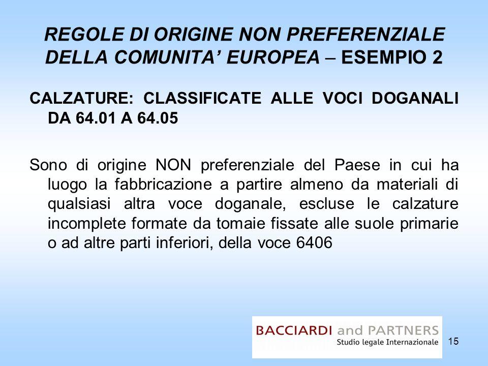 REGOLE DI ORIGINE NON PREFERENZIALE DELLA COMUNITA EUROPEA – ESEMPIO 2 CALZATURE: CLASSIFICATE ALLE VOCI DOGANALI DA 64.01 A 64.05 Sono di origine NON