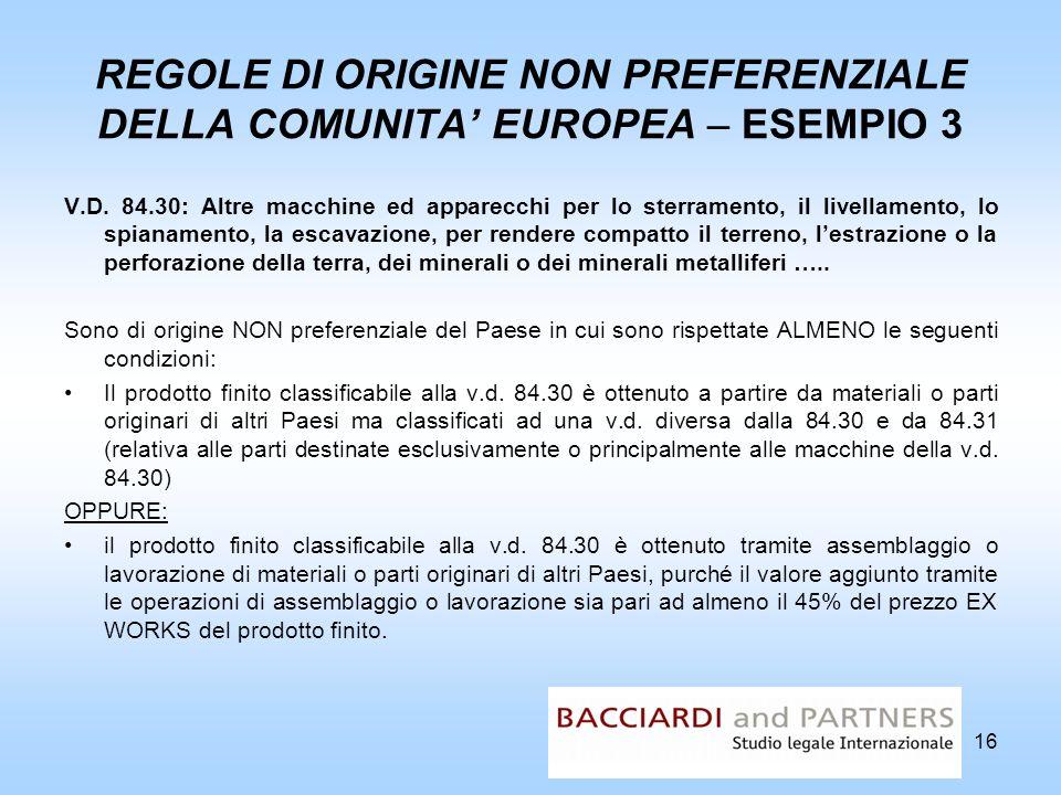 REGOLE DI ORIGINE NON PREFERENZIALE DELLA COMUNITA EUROPEA – ESEMPIO 3 V.D. 84.30: Altre macchine ed apparecchi per lo sterramento, il livellamento, l