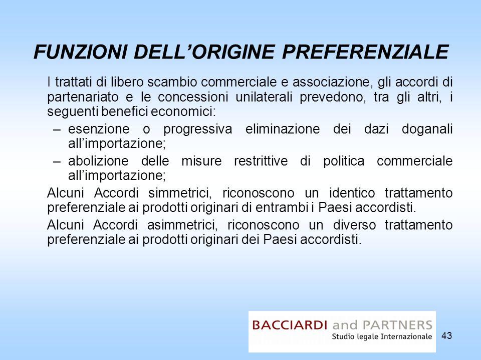 43 FUNZIONI DELLORIGINE PREFERENZIALE I trattati di libero scambio commerciale e associazione, gli accordi di partenariato e le concessioni unilateral