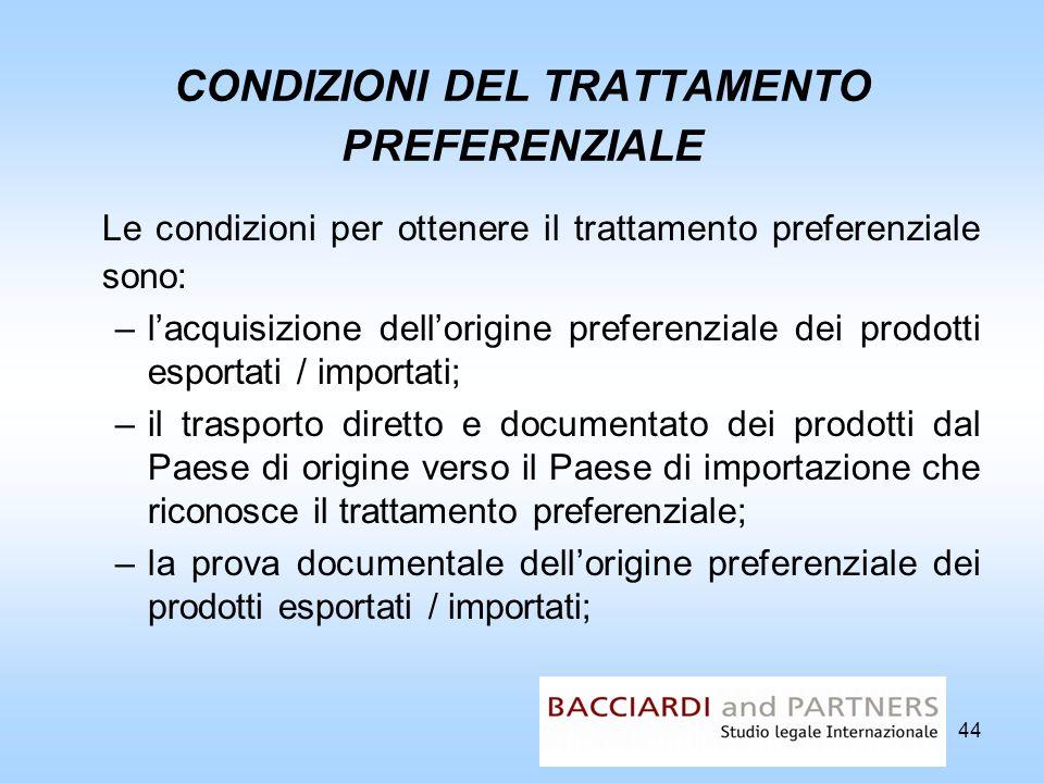 44 CONDIZIONI DEL TRATTAMENTO PREFERENZIALE Le condizioni per ottenere il trattamento preferenziale sono: –lacquisizione dellorigine preferenziale dei