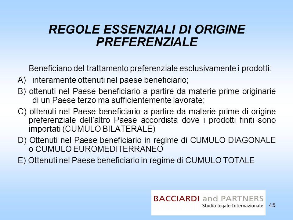 45 REGOLE ESSENZIALI DI ORIGINE PREFERENZIALE Beneficiano del trattamento preferenziale esclusivamente i prodotti: A)interamente ottenuti nel paese be