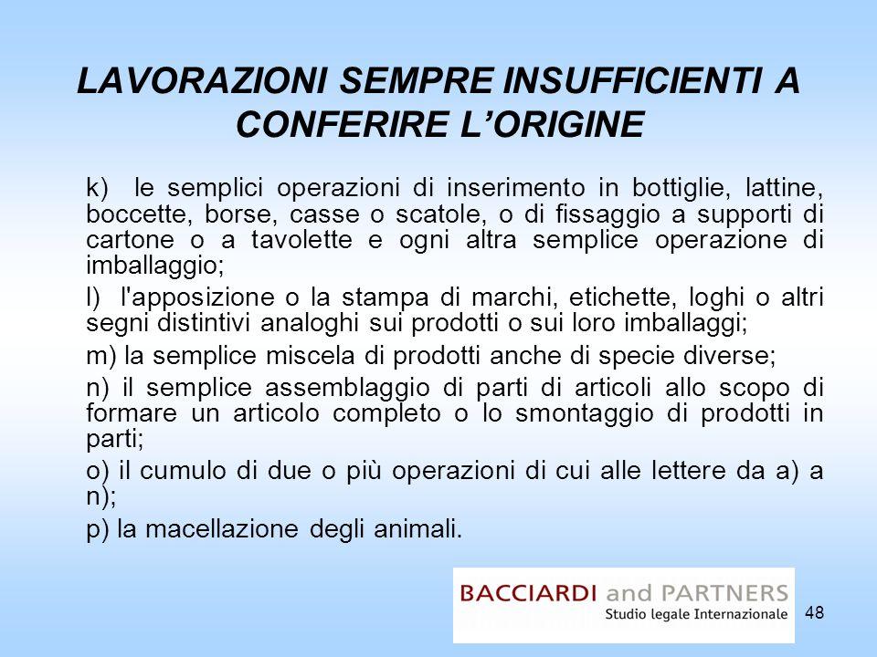 48 LAVORAZIONI SEMPRE INSUFFICIENTI A CONFERIRE LORIGINE k) le semplici operazioni di inserimento in bottiglie, lattine, boccette, borse, casse o scat