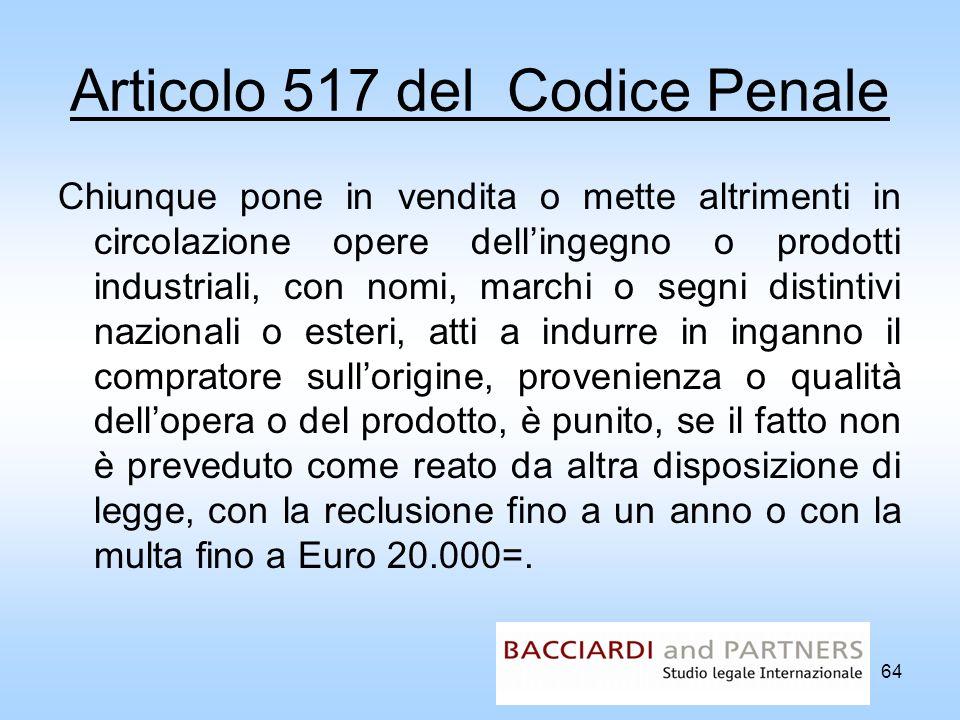 Articolo 517 del Codice Penale Chiunque pone in vendita o mette altrimenti in circolazione opere dellingegno o prodotti industriali, con nomi, marchi