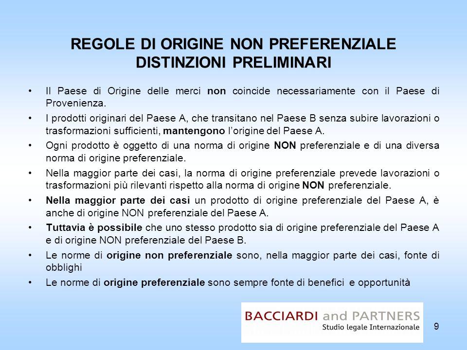 20 FUNZIONI DOGANALI DELLORIGINE NON PREFERENZIALE Le regole di origine NON preferenziale sono funzionali allapplicazione delle misure di politica commerciale e tariffaria.