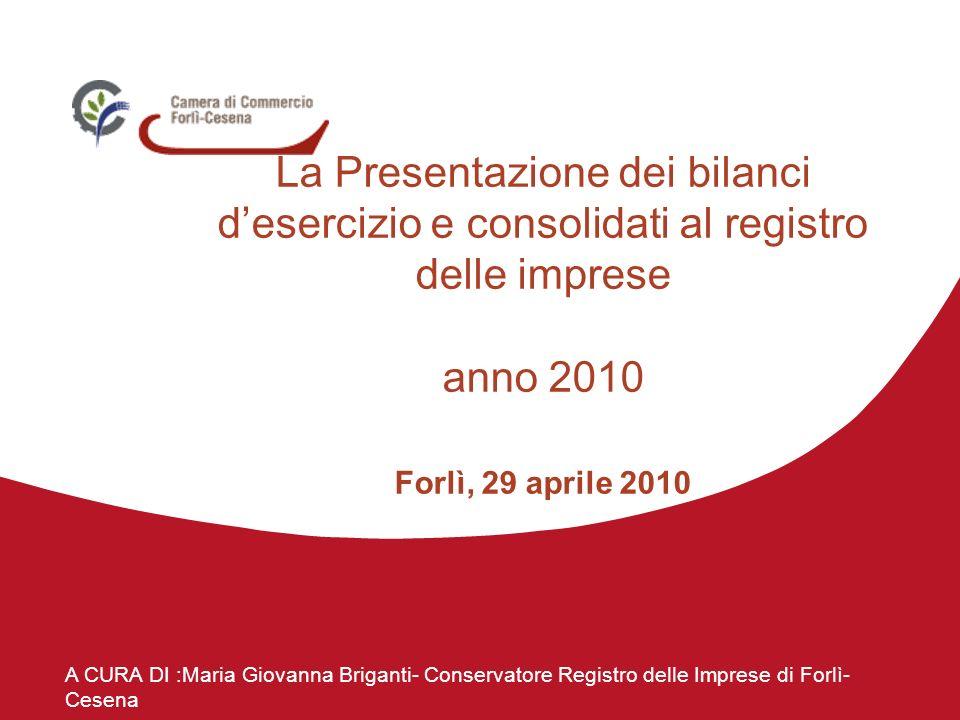 A CURA DI :Maria Giovanna Briganti- Conservatore Registro delle Imprese di Forlì- Cesena La Presentazione dei bilanci desercizio e consolidati al registro delle imprese anno 2010 Forlì, 29 aprile 2010