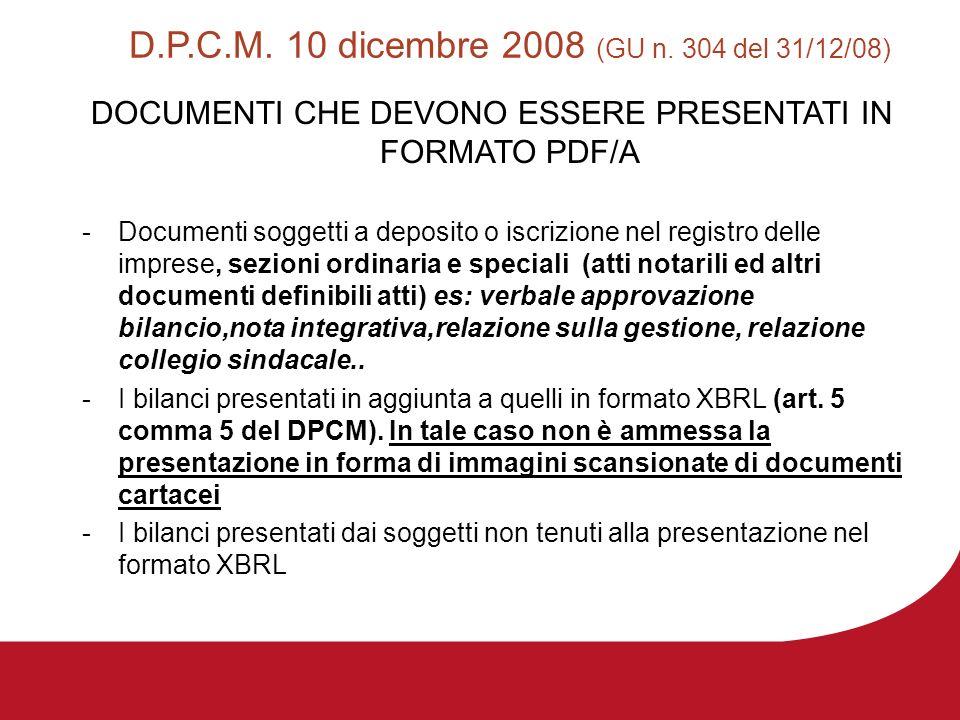 D.P.C.M. 10 dicembre 2008 (GU n. 304 del 31/12/08) DOCUMENTI CHE DEVONO ESSERE PRESENTATI IN FORMATO PDF/A -Documenti soggetti a deposito o iscrizione