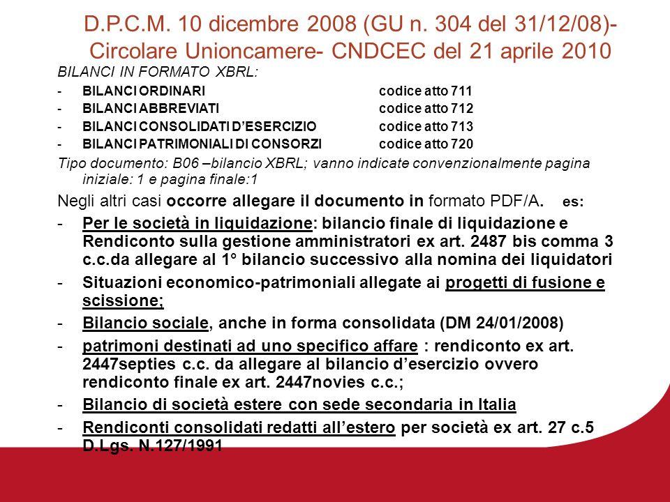 D.P.C.M. 10 dicembre 2008 (GU n. 304 del 31/12/08)- Circolare Unioncamere- CNDCEC del 21 aprile 2010 BILANCI IN FORMATO XBRL: -BILANCI ORDINARI codice