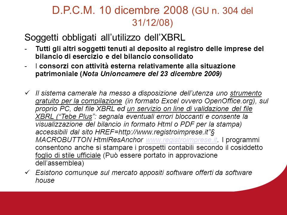 D.P.C.M. 10 dicembre 2008 (GU n. 304 del 31/12/08) Soggetti obbligati allutilizzo dellXBRL -Tutti gli altri soggetti tenuti al deposito al registro de