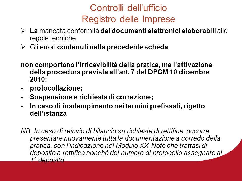Controlli dellufficio Registro delle Imprese La mancata conformità dei documenti elettronici elaborabili alle regole tecniche Gli errori contenuti nel