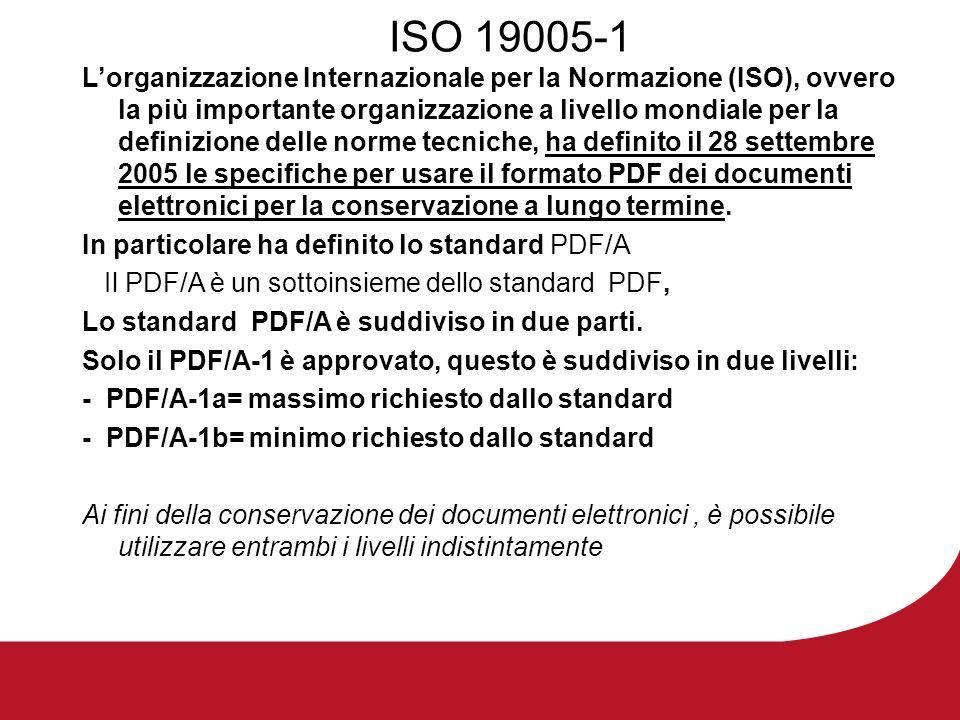 ISO 19005-1 Lorganizzazione Internazionale per la Normazione (ISO), ovvero la più importante organizzazione a livello mondiale per la definizione delle norme tecniche, ha definito il 28 settembre 2005 le specifiche per usare il formato PDF dei documenti elettronici per la conservazione a lungo termine.
