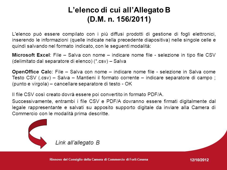 12/10/2012 Rinnovo del Consiglio della Camera di Commercio di Forlì-Cesena Lelenco di cui allAllegato B (D.M.