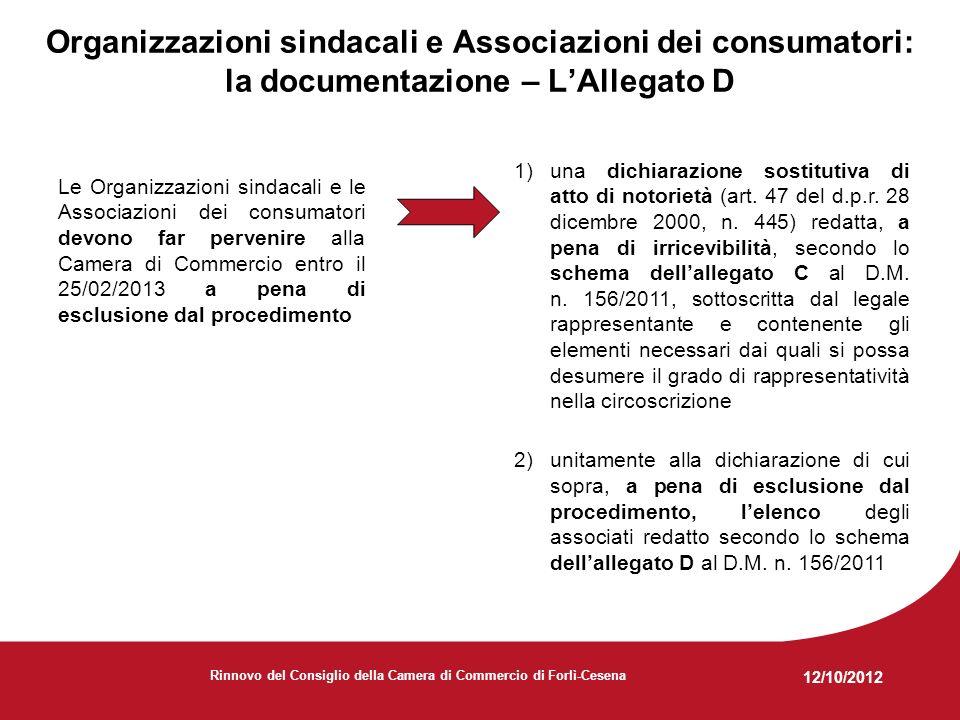 12/10/2012 Rinnovo del Consiglio della Camera di Commercio di Forlì-Cesena Organizzazioni sindacali e Associazioni dei consumatori: la documentazione – LAllegato D Le Organizzazioni sindacali e le Associazioni dei consumatori devono far pervenire alla Camera di Commercio entro il 25/02/2013 a pena di esclusione dal procedimento 1)una dichiarazione sostitutiva di atto di notorietà (art.