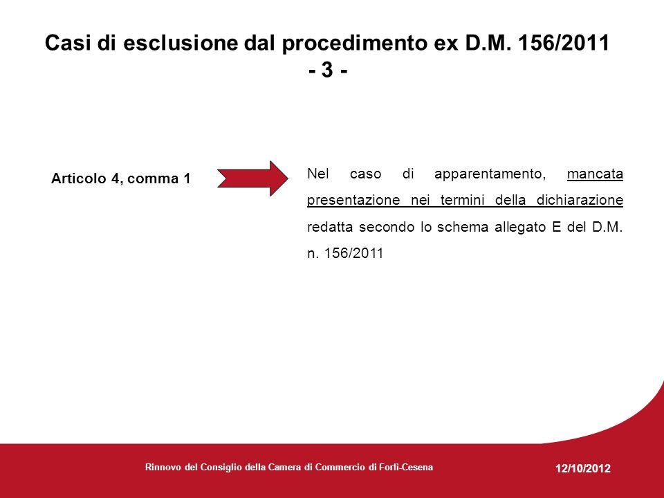 12/10/2012 Rinnovo del Consiglio della Camera di Commercio di Forlì-Cesena Articolo 4, comma 1 Nel caso di apparentamento, mancata presentazione nei termini della dichiarazione redatta secondo lo schema allegato E del D.M.