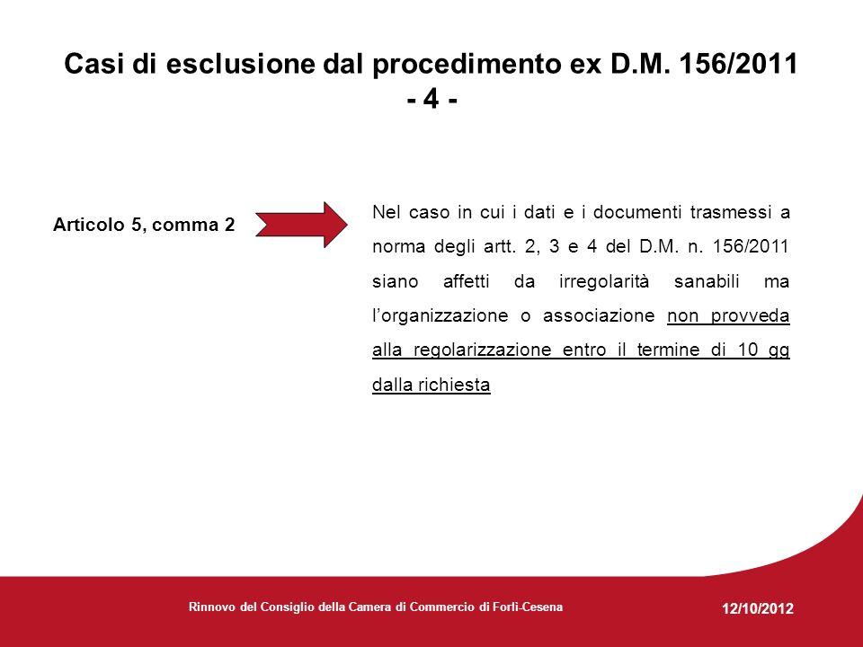12/10/2012 Rinnovo del Consiglio della Camera di Commercio di Forlì-Cesena Articolo 5, comma 2 Nel caso in cui i dati e i documenti trasmessi a norma degli artt.