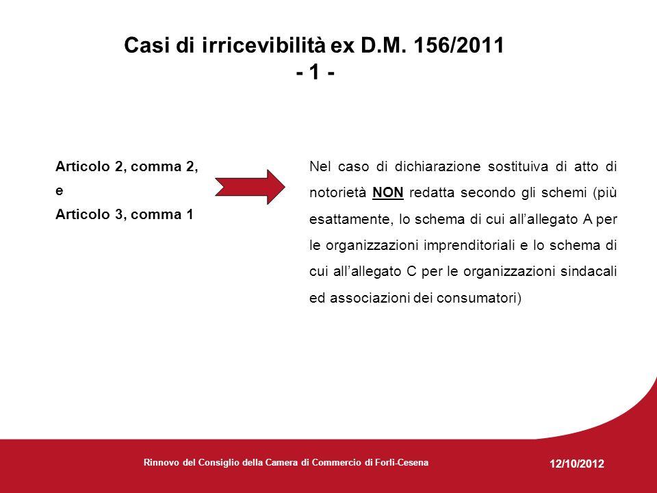12/10/2012 Rinnovo del Consiglio della Camera di Commercio di Forlì-Cesena Casi di irricevibilità ex D.M.