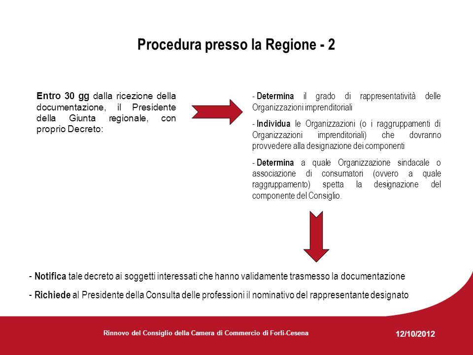 12/10/2012 Rinnovo del Consiglio della Camera di Commercio di Forlì-Cesena Procedura presso la Regione - 2 Entro 30 gg dalla ricezione della documentazione, il Presidente della Giunta regionale, con proprio Decreto: - Determina il grado di rappresentatività delle Organizzazioni imprenditoriali - Individua le Organizzazioni (o i raggruppamenti di Organizzazioni imprenditoriali) che dovranno provvedere alla designazione dei componenti - Determina a quale Organizzazione sindacale o associazione di consumatori (ovvero a quale raggruppamento) spetta la designazione del componente del Consiglio.
