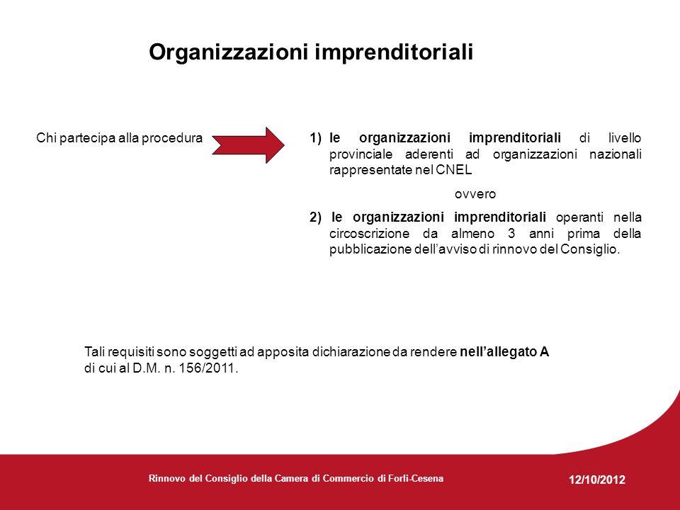 12/10/2012 Rinnovo del Consiglio della Camera di Commercio di Forlì-Cesena Organizzazioni imprenditoriali: la documentazione Le organizzazioni imprenditoriali devono far pervenire alla Camera di Commercio, entro il 25 febbraio 2013 a pena di esclusione dal procedimento: 1) ununica dichiarazione sostitutiva di atto di notorietà (art.
