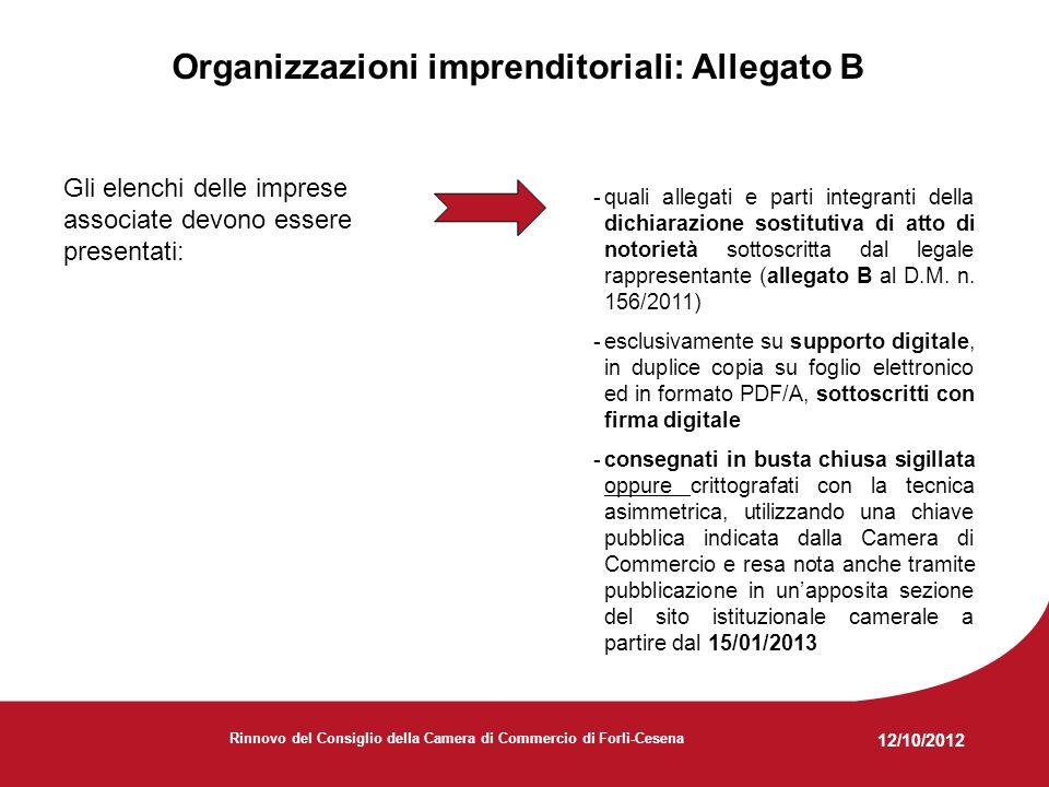 12/10/2012 Rinnovo del Consiglio della Camera di Commercio di Forlì-Cesena Normativa e documenti di riferimento principali -L.