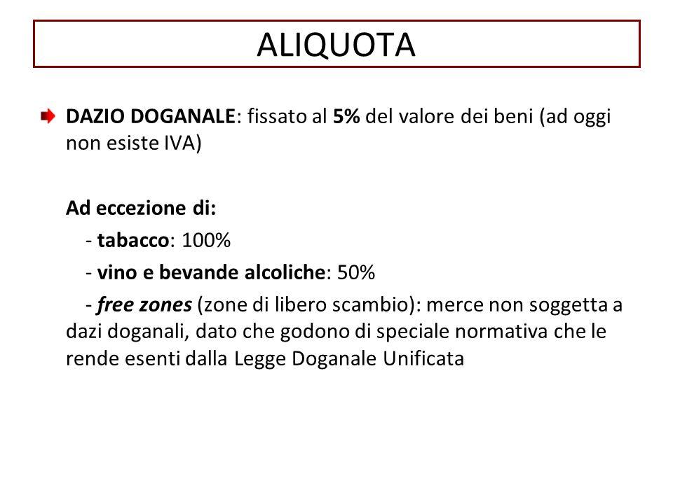 ALIQUOTA DAZIO DOGANALE: fissato al 5% del valore dei beni (ad oggi non esiste IVA) Ad eccezione di: - tabacco: 100% - vino e bevande alcoliche: 50% -