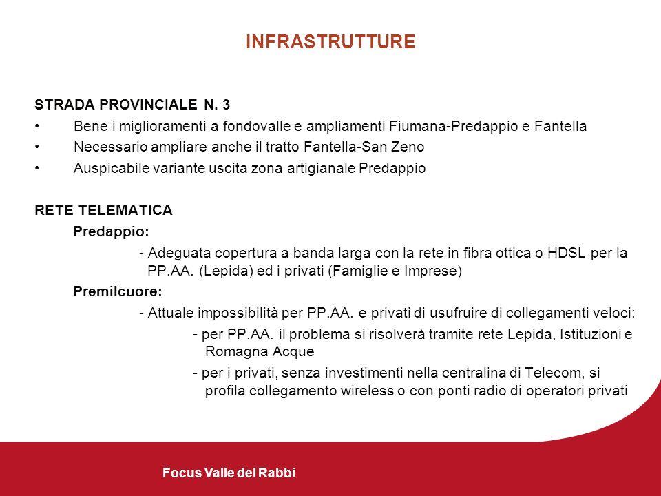 INFRASTRUTTURE STRADA PROVINCIALE N. 3 Bene i miglioramenti a fondovalle e ampliamenti Fiumana-Predappio e Fantella Necessario ampliare anche il tratt