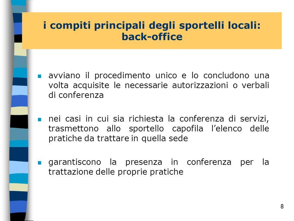 7 i compiti principali degli sportelli locali: front-office n gestiscono direttamente il rapporto con le imprese del proprio territorio n svolgono una