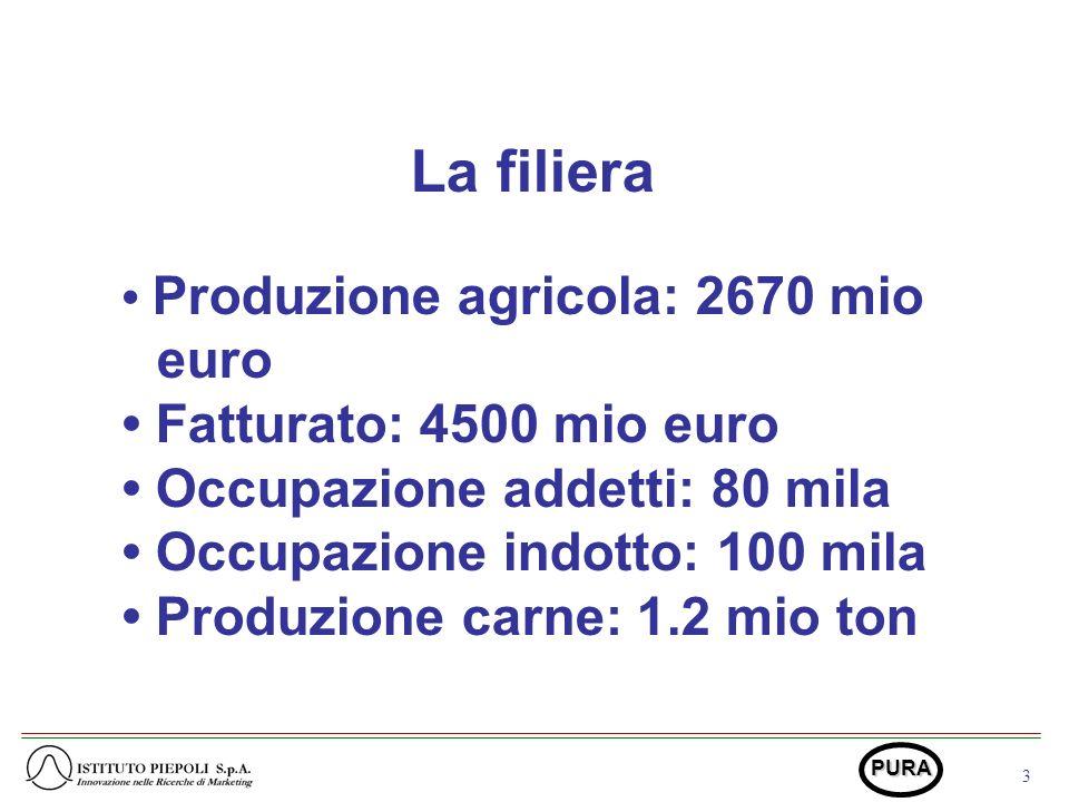 3 PURA La filiera Produzione agricola: 2670 mio euro Fatturato: 4500 mio euro Occupazione addetti: 80 mila Occupazione indotto: 100 mila Produzione carne: 1.2 mio ton