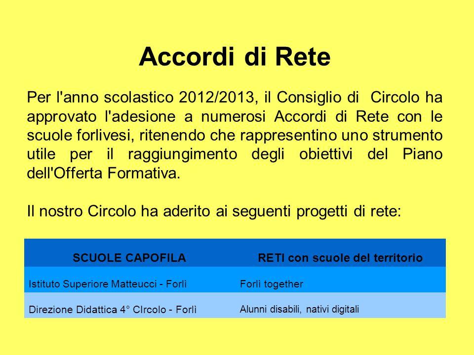 Accordi di Rete Per l'anno scolastico 2012/2013, il Consiglio di Circolo ha approvato l'adesione a numerosi Accordi di Rete con le scuole forlivesi, r