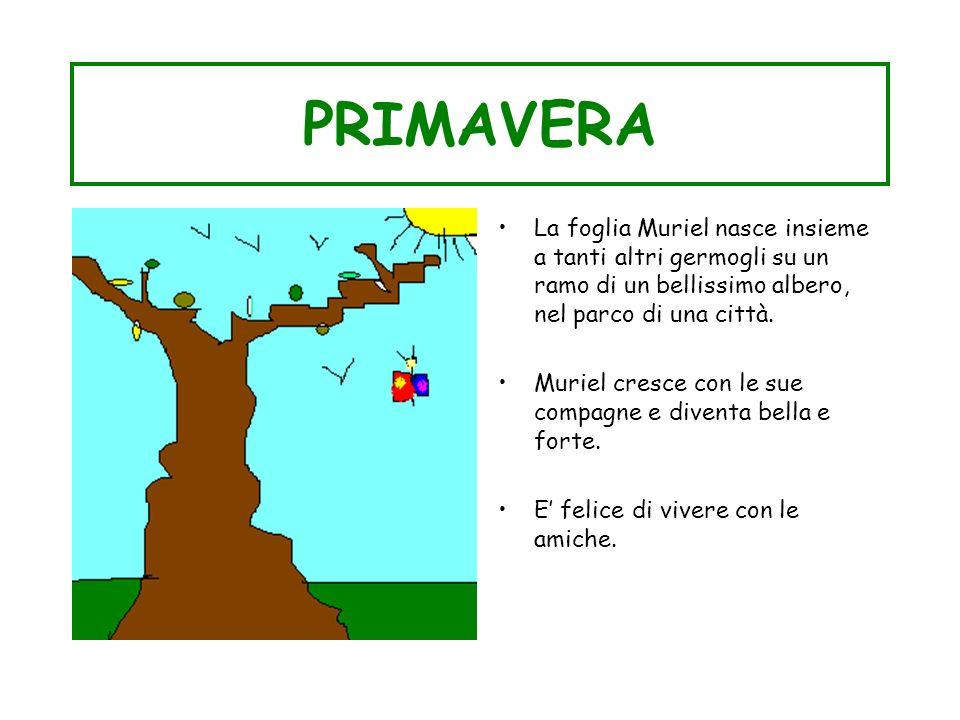 PRIMAVERA La foglia Muriel nasce insieme a tanti altri germogli su un ramo di un bellissimo albero, nel parco di una città. Muriel cresce con le sue c