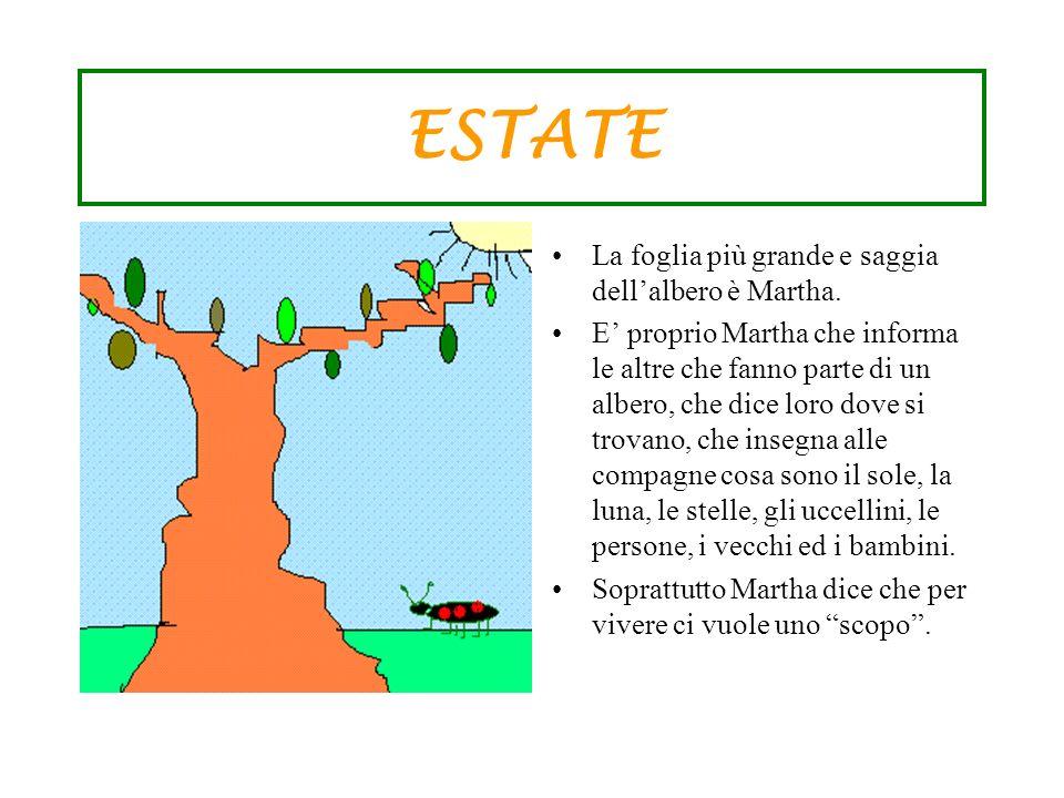 ESTATE La foglia più grande e saggia dellalbero è Martha. E proprio Martha che informa le altre che fanno parte di un albero, che dice loro dove si tr