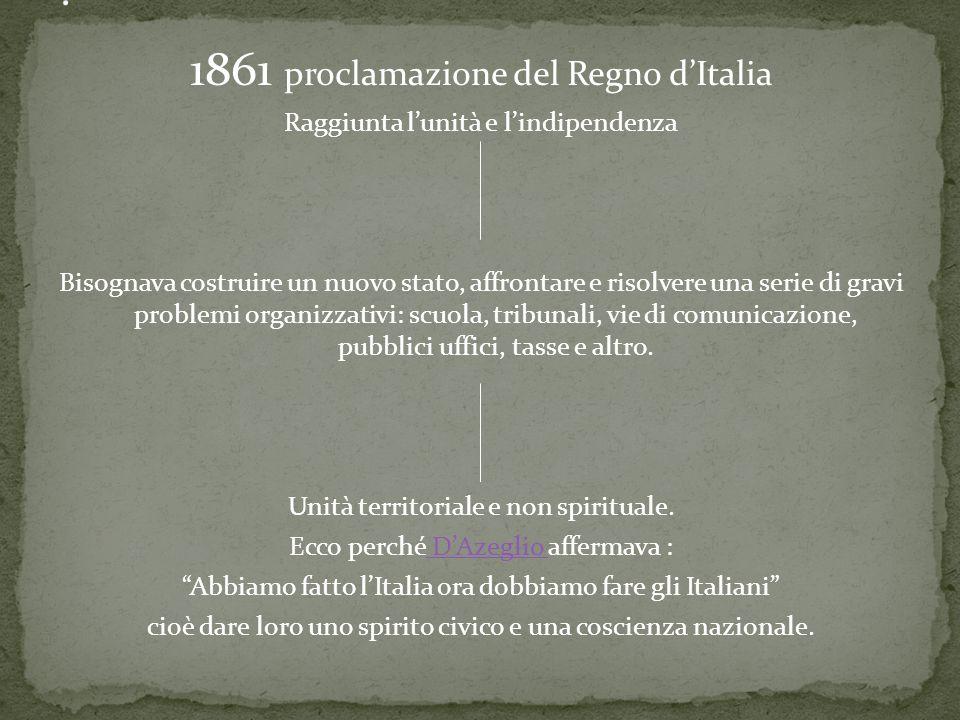 1861 proclamazione del Regno dItalia Raggiunta lunità e lindipendenza Bisognava costruire un nuovo stato, affrontare e risolvere una serie di gravi pr