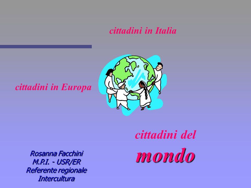 cittadini in Italia cittadini in Europa mondo cittadini del mondo Rosanna Facchini M.P.I. - USR/ER Referente regionale Intercultura