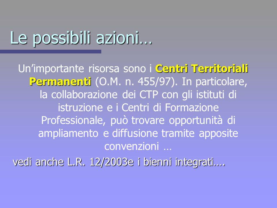 Le possibili azioni… Centri Territoriali Permanenti Unimportante risorsa sono i Centri Territoriali Permanenti (O.M. n. 455/97). In particolare, la co