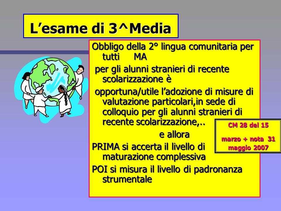Lesame di 3^Media Obbligo della 2° lingua comunitaria per tutti MA per gli alunni stranieri di recente scolarizzazione è opportuna/utile ladozione di