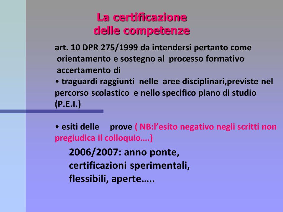 La certificazione delle competenze art. 10 DPR 275/1999 da intendersi pertanto come orientamento e sostegno al processo formativo accertamento di trag