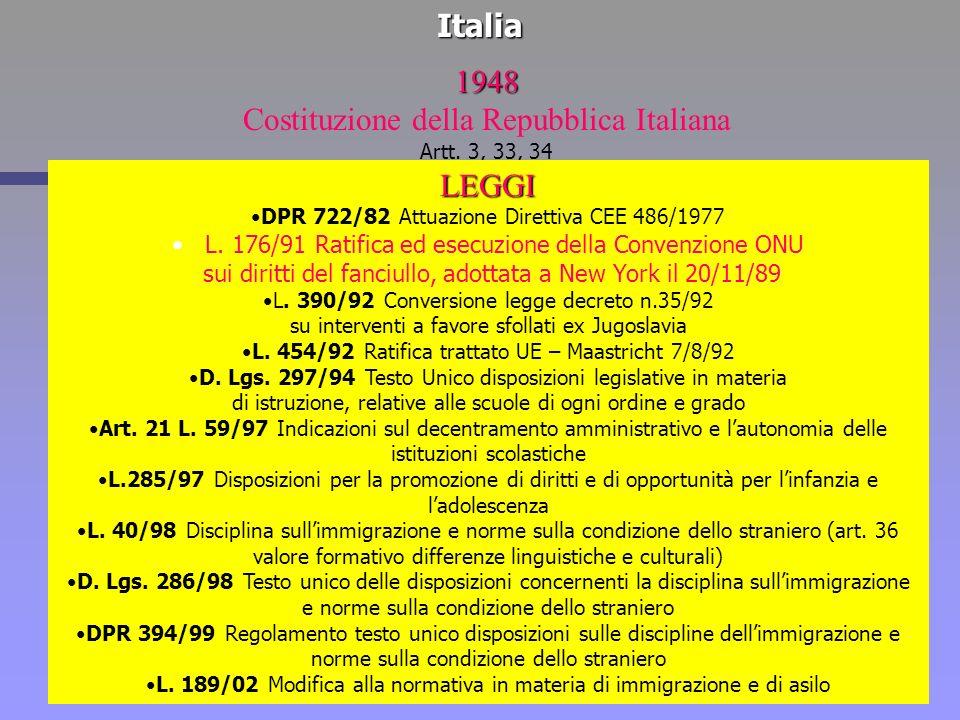 Italia1948 Costituzione della Repubblica Italiana Artt. 3, 33, 34 LEGGI DPR 722/82 Attuazione Direttiva CEE 486/1977 L. 176/91 Ratifica ed esecuzione