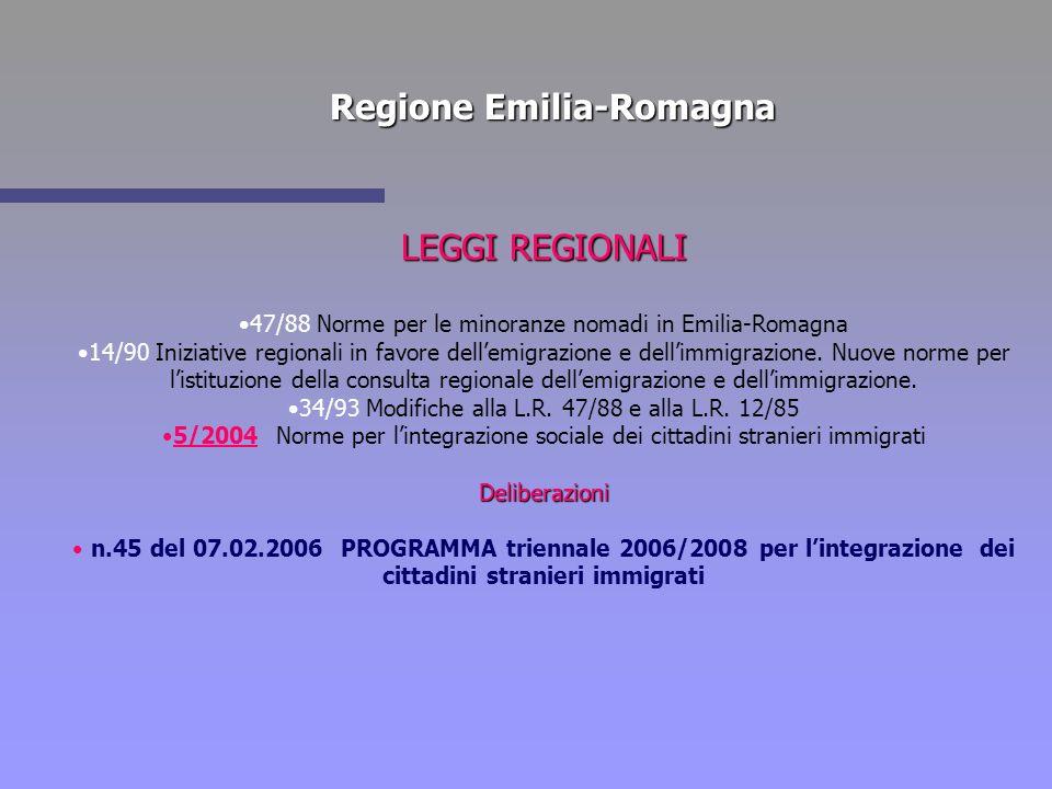 Regione Emilia-Romagna LEGGI REGIONALI 47/88 Norme per le minoranze nomadi in Emilia-Romagna 14/90 Iniziative regionali in favore dellemigrazione e de