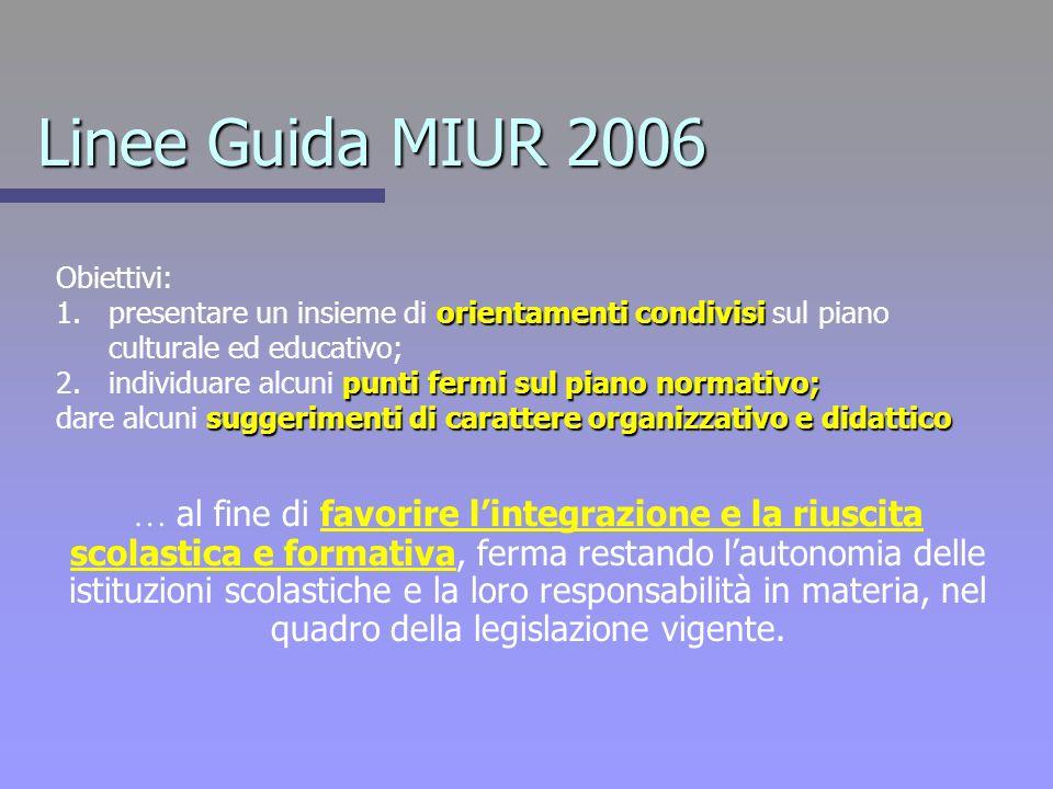 Linee Guida MIUR 2006 Obiettivi: 1.orientamenti condivisi 1.presentare un insieme di orientamenti condivisi sul piano culturale ed educativo; 2.punti