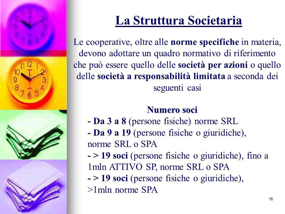 18 Numero soci - Da 3 a 8 (persone fisiche) norme SRL - Da 9 a 19 (persone fisiche o giuridiche), norme SRL o SPA - > 19 soci (persone fisiche o giuridiche), fino a 1mln ATTIVO SP, norme SRL o SPA - > 19 soci (persone fisiche o giuridiche), >1mln norme SPA Le cooperative, oltre alle norme specifiche in materia, devono adottare un quadro normativo di riferimento che può essere quello delle società per azioni o quello delle società a responsabilità limitata a seconda dei seguenti casi La Struttura Societaria