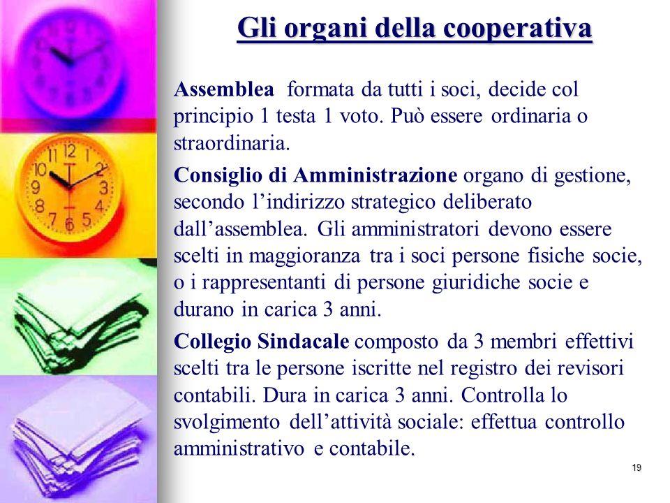 19 Gli organi della cooperativa Assemblea formata da tutti i soci, decide col principio 1 testa 1 voto.