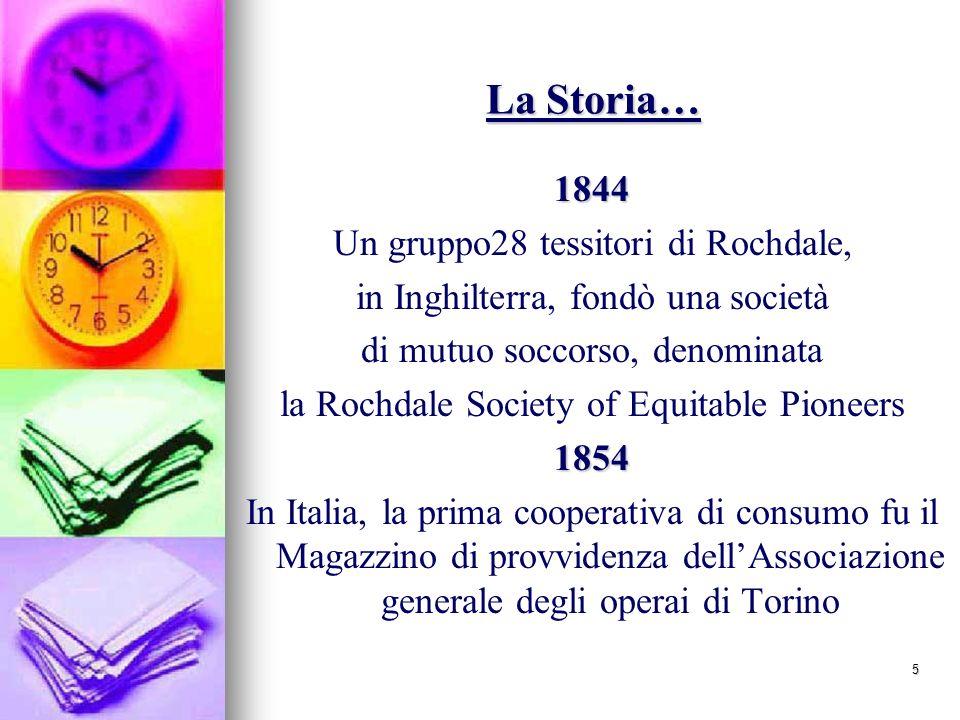 5 La Storia… 1844 Un gruppo28 tessitori di Rochdale, in Inghilterra, fondò una società di mutuo soccorso, denominata la Rochdale Society of Equitable Pioneers1854 In Italia, la prima cooperativa di consumo fu il Magazzino di provvidenza dellAssociazione generale degli operai di Torino