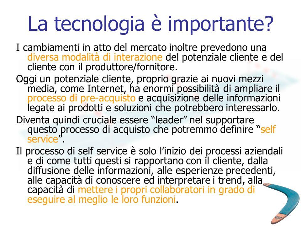 La tecnologia è importante? I cambiamenti in atto del mercato inoltre prevedono una diversa modalità di interazione del potenziale cliente e del clien