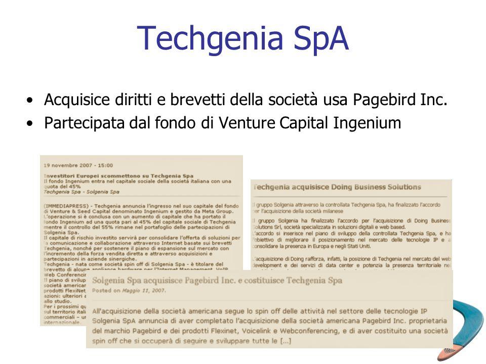 Techgenia SpA Acquisice diritti e brevetti della società usa Pagebird Inc. Partecipata dal fondo di Venture Capital Ingenium