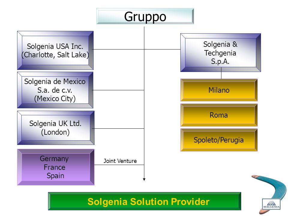 Gruppo Solgenia USA Inc. (Charlotte, Salt Lake) Solgenia Solution Provider Solgenia & Techgenia S.p.A. Solgenia UK Ltd. (London) Germany France Spain